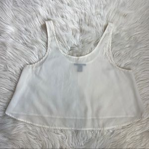 White sheer cropped tank top small